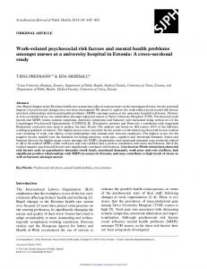 Work-related psychosocial risk factors and mental