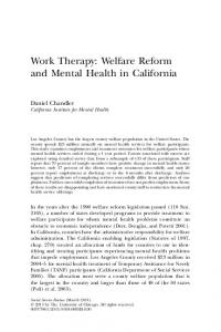 Work Therapy: Welfare Reform and Mental Health in California