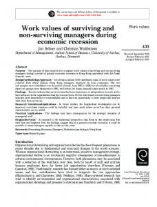 Work values of surviving and non-surviving managers during ...