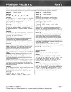 Workbook Answer Key Unit 6 - useful stuff