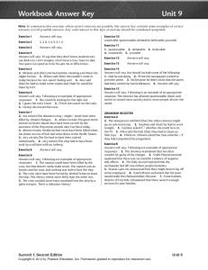 Workbook Answer Key Unit 9 - useful stuff