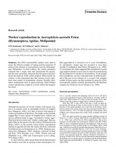 Worker reproduction in Austroplebeia australis Friese - Springer Link