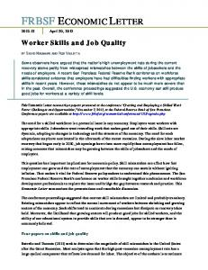 Worker Skills and Job Quality