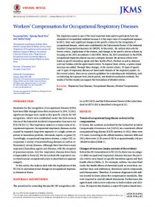 Workers' Compensation for Occupational ... - KoreaMed Synapse
