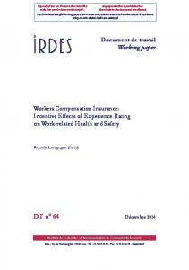 Workers Compensation Insurance: Incentive Effects of ... - Irdes