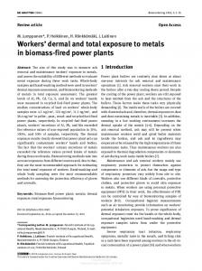 Workers' dermal and total exposure to metals in ...