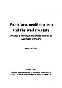Workfare, neoliberalism and the welfare state