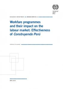 Workfare programmes and their impact on the labour market - ILO