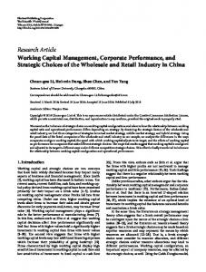 Working Capital Management, Corporate Performance, and Strategic
