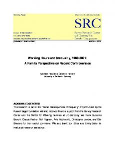 Working Hours and Inequality, 1968-2001 - Russell Sage Foundation