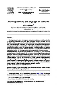 Working memory and language: an overview
