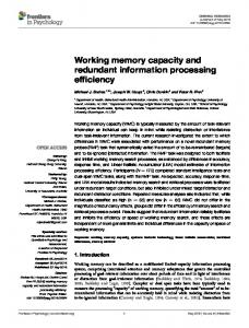 Working memory capacity and redundant ... - Semantic Scholar