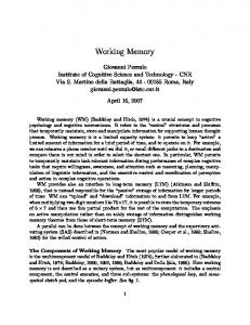 Working Memory - Semantic Scholar