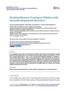 Working Memory Training in Children with Neurodevelopmental ...