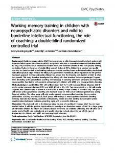 Working memory training in children with