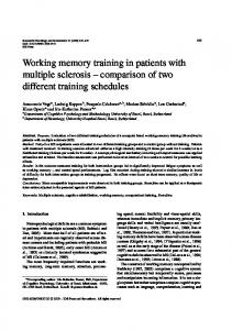 Working memory training in patients with multiple sclerosis - IOS Press
