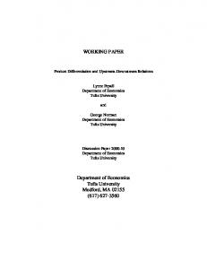 WORKING PAPER Department of Economics Tufts University Medford ...