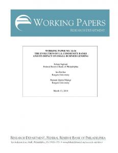 WORKING PAPER NO. 14-16 THE EVOLUTION OF U.S. COMMUNITY ...