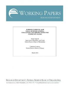 WORKING PAPER NO. 16-08 SMALL BUSINESS LENDING ...