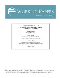 WORKING PAPER NO. 16-15 IS BIGGER NECESSARILY BETTER IN ...