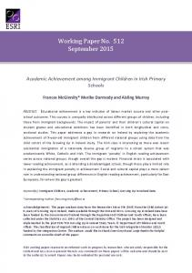 Working Paper No. 512 September 2015 - The Economic and Social ...