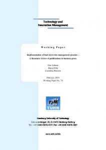 Working Paper No 78 - TUHH