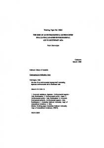 Working Paper No.1998/3 Peter Dauvergne Canberra March 1998