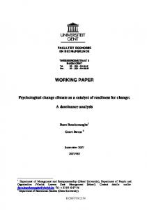WORKING PAPER Psychological change ... - Working Paper Series