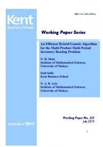 Working Paper Series An Efficient Hybrid Genetic Algorithm for the ...