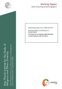 Working Papers - Max Planck Institute for the Study of Religious and