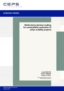 WORKING PAPERS Multicriteria decision making for sustainability ...
