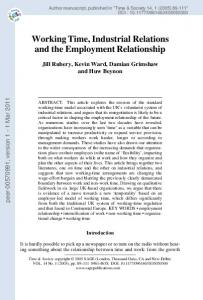 Working Time, Industrial Relations and the Employment Relationship
