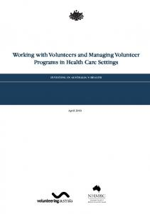 Working with volunteers and managing volunteer programs in health ...