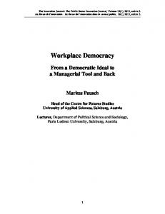 Workplace Democracy - The Innovation Journal