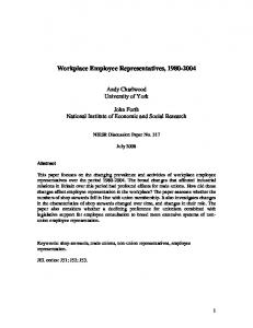Workplace Employee Representatives, 1980-2004 - Semantic Scholar