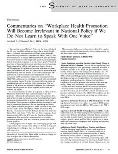 Workplace Health Promotion Will Become Irrelevant in National ...