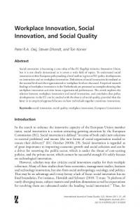 Workplace Innovation, Social Innovation, and Social Quality