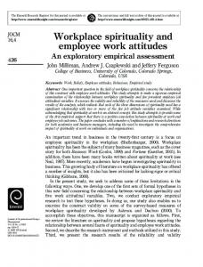 Workplace spirituality and employee work attitudes - CiteSeerX