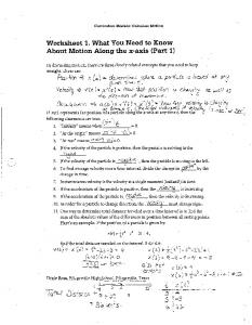 Worksheet 1. What You Need to Know