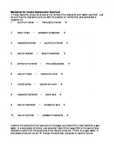 Worksheet #5: Double-Replacement Reactions In these reactions ...
