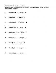 Worksheet #6: Combustion Reactions