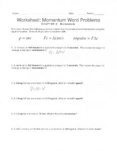 PHYSICS 12 IMPULSE & MOMENTUM WORKSHEET 2 1. A 95.0 kg ...