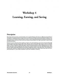 Workshop 4 Learning, Earning, and Saving