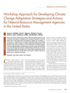 Workshop Approach for Developing Climate Change Adaptation ...