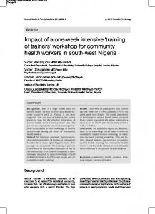 workshop for community health workers in south - Mental Health and ...