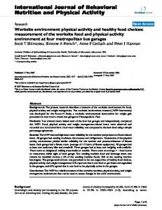 Worksite environment physical activity and healthy food choices ...
