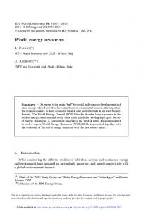 World energy resources - EPJ Web of Conferences