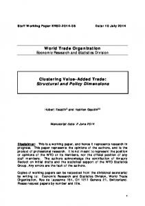 World Trade Organization Clustering Value-Added Trade: Structural ...