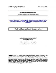 World Trade Organization Trade and Deforestation: A literature review