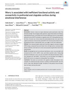 Worry is associated with inefficient functional ... - Wiley Online Library